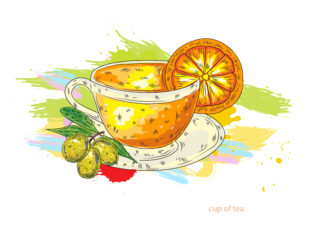 cup of tea vector  illustration Vector Illustrations lemon