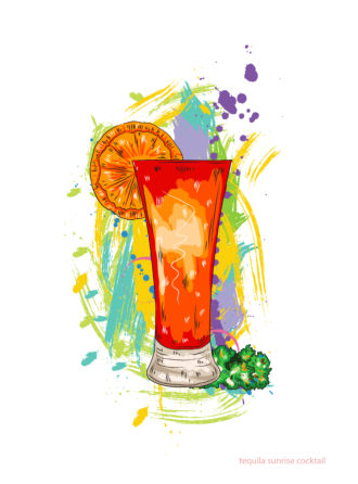 tequila sunrise cocktail vector illustration Vector Illustrations cocktail
