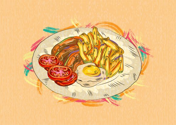 Cooked Vector Illustration Cooked Eggs  Vegetables Vector  Illustration 1