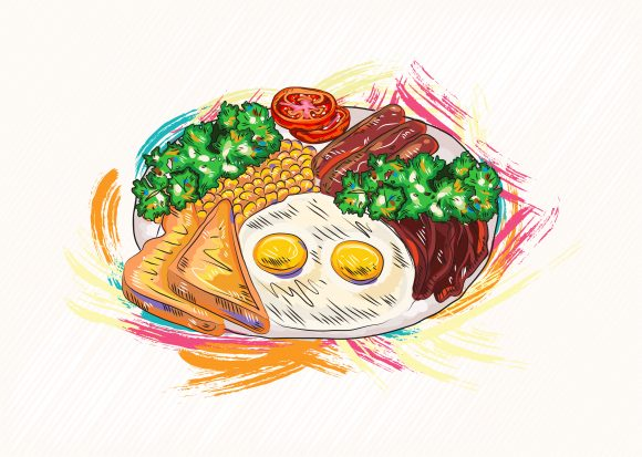 cooked eggs with vegetables vector  illustration 2015 03 03 142