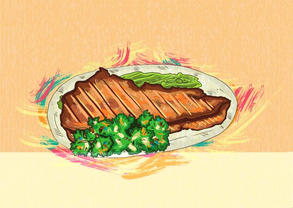 cooked meat vector  illustration 2015 03 03 143