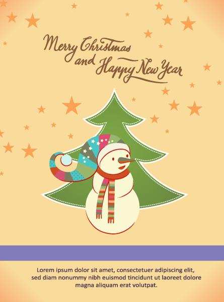 Christmas Vector illustration with christmas tree and snowman 2015 03 03 144