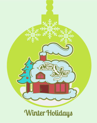 Christmas Vector illustration with  tree, house and snowflake Vector Illustrations star