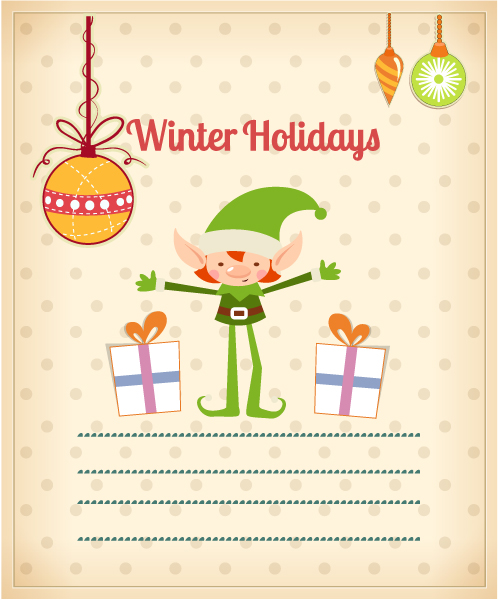 Christmas Vector illustration with elf 2015 03 03 161