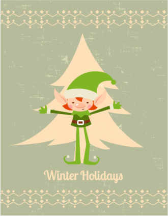 Christmas Vector illustration with elf and christmas tree Vector Illustrations star