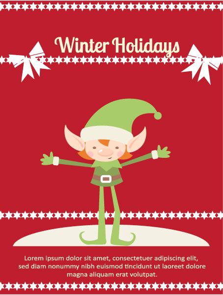 Christmas Vector illustration elf, ribbon, star 2015 03 03 172