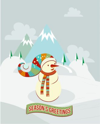 Christmas Vector illustration with snowman, mountains, ribbon Vector Illustrations vector