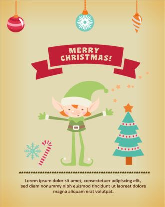 Christmas Vector illustration with elf, ribbon, tree, globe, Vector Illustrations tree