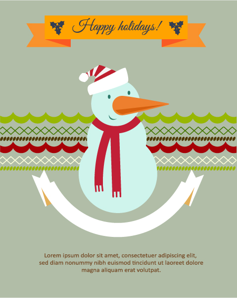 Christmas Vector illustration with snow man, ribbon Vector Illustrations vector