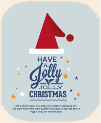 Christmas Vector illustration with ribbon, santa hat Vector Illustrations star
