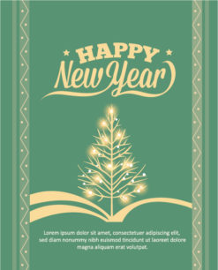 Happy New Year  Vector illustration with Christmas tree Vector Illustrations old
