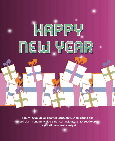 Happy New Year  Vector illustration with gift Vector Illustrations old