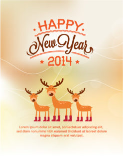 Happy New Year  Vector illustration with deer Vector Illustrations old