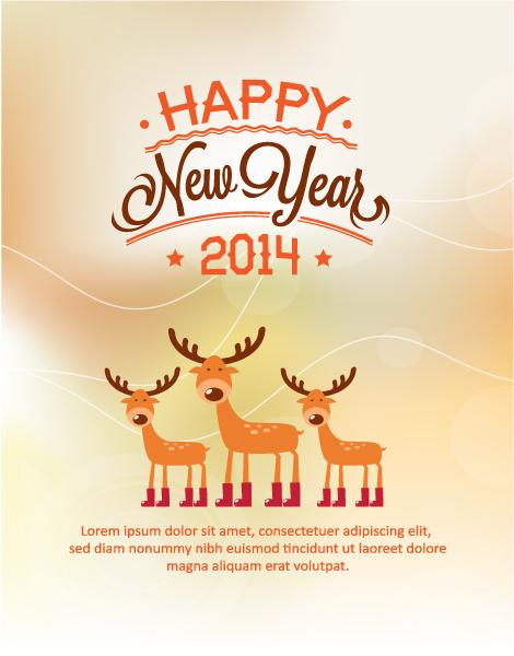 Retro, Deer, Advertisement Vector Background Happy New Year  Vector Illustration  Deer 2015 03 03 254