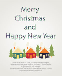 Happy New Year  Vector illustration with houses Vector Illustrations old