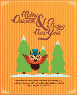 Happy New Year  Vector illustration with  owl Vector Illustrations old