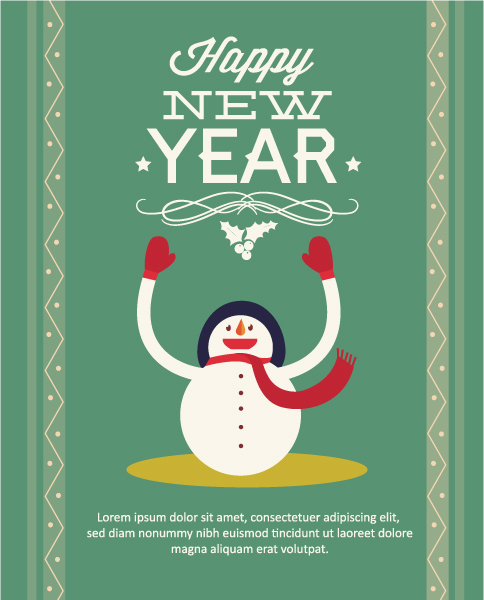 Vector Vector Image: Happy New Year  Vector Image Illustration With  Snowman 2015 03 03 265