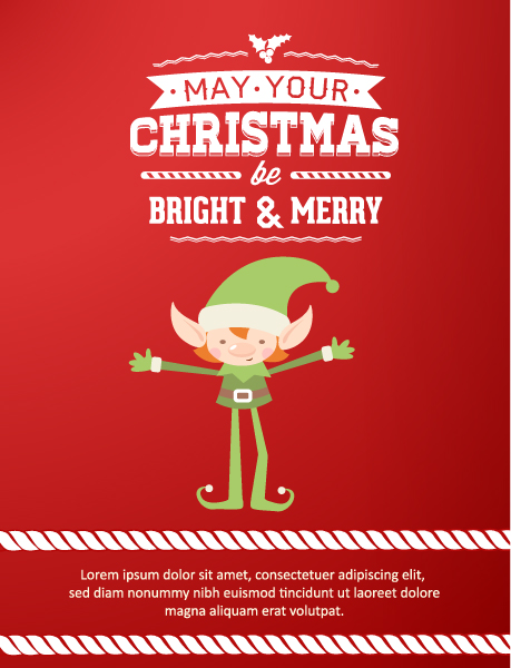 Christmas Vector illustration with elf Vector Illustrations old