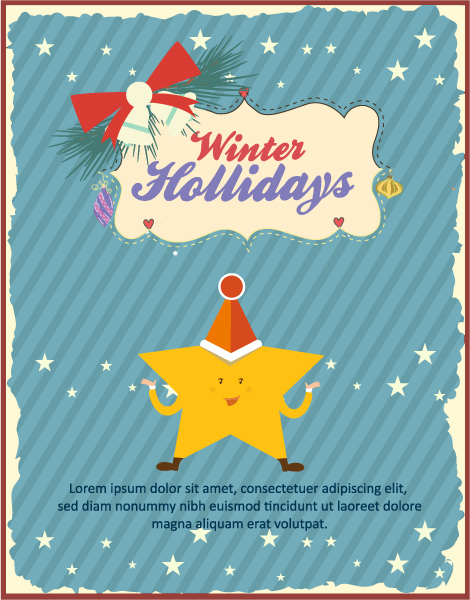 Christmas Vector illustration with star and frame Vector Illustrations old
