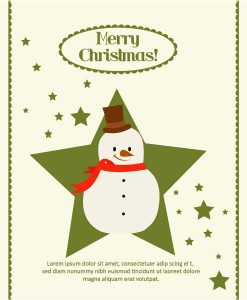 Christmas Vector illustration with Star and Snow man Vector Illustrations star