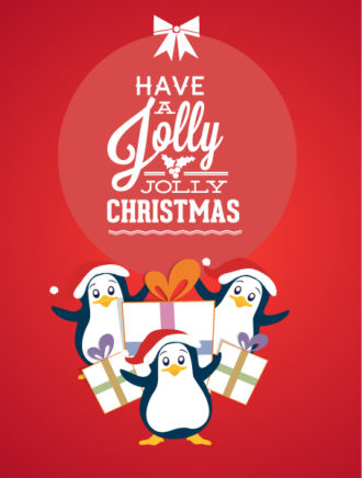 Christmas Vector illustration with Penguins Vector Illustrations old