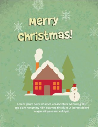 Christmas Vector illustration with snowman and house Vector Illustrations old