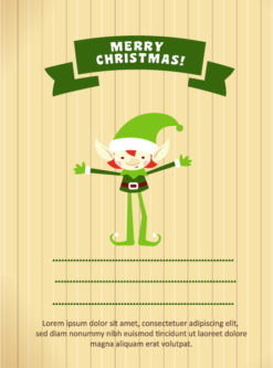 Christmas Vector illustration with elf and ribbon Vector Illustrations old