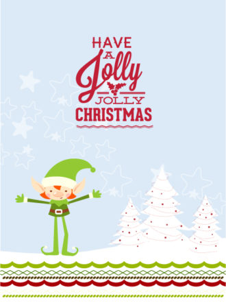 Christmas Vector illustration with elf and christmas tree Vector Illustrations old