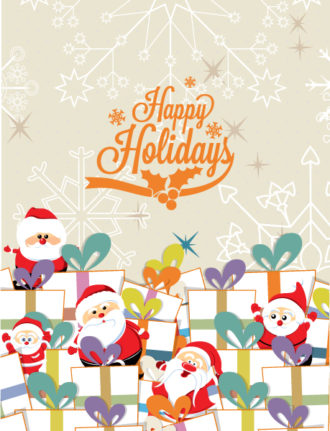 Christmas Vector illustration with santa Vector Illustrations old