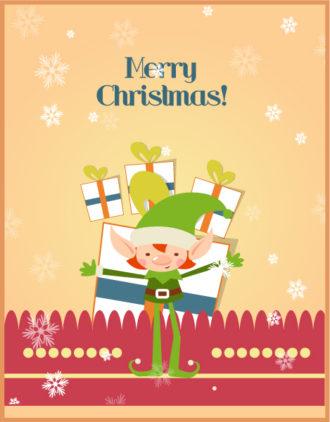 Christmas Vector illustration with elf Vector Illustrations star