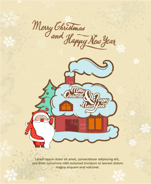 Christmas Vector illustration with santa 2015 03 03 345