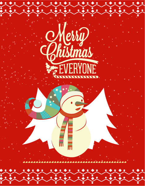 Christmas Vector illustration with snowman 2015 03 03 365