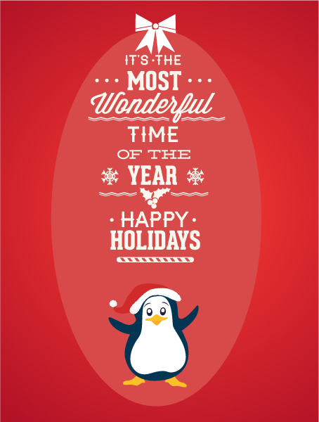 Christmas Vector illustration with penguin Vector Illustrations tree