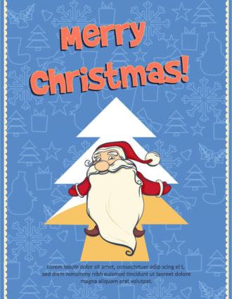 Christmas Vector illustration with santa Vector Illustrations tree