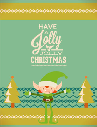 Christmas Vector illustration  with tree and elf Vector Illustrations tree