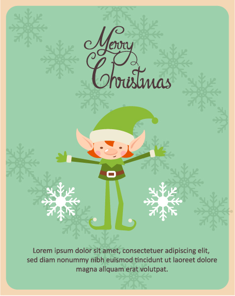Christmas Vector illustration with elf and snowflakes Vector Illustrations tree
