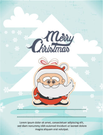 Christmas Vector illustration with santa and  christmas tree Vector Illustrations tree