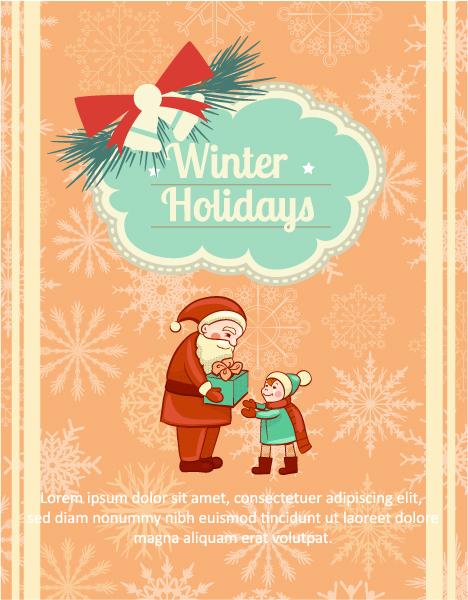 Christmas Vector illustration with frame, santa and little kid Vector Illustrations tree