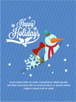 Christmas Vector illustration with snowman and snowflake Vector Illustrations tree