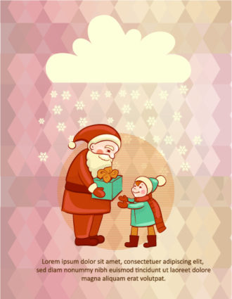 Christmas Vector illustration with santa and little kid Vector Illustrations tree