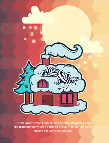 Christmas Vector illustration with house Vector Illustrations tree