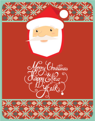 Christmas Vector illustration with santa and snowflake Vector Illustrations tree