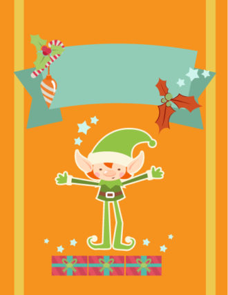 Christmas Vector illustration with elf and ribbon Vector Illustrations tree