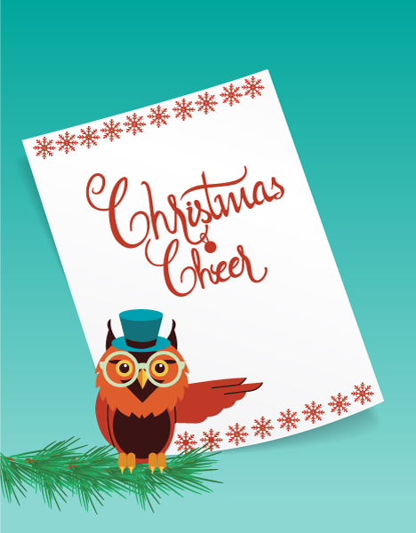 Christmas Vector illustration with paper and owl 2015 03 03 433