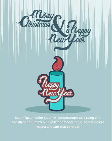 Christmas Vector illustration  with christmas candle Vector Illustrations tree