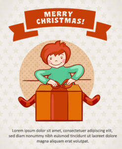 Christmas Vector illustration  with gift and kid Vector Illustrations tree