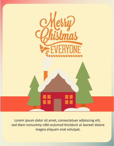 Christmas Vector illustration  with house and tree Vector Illustrations tree