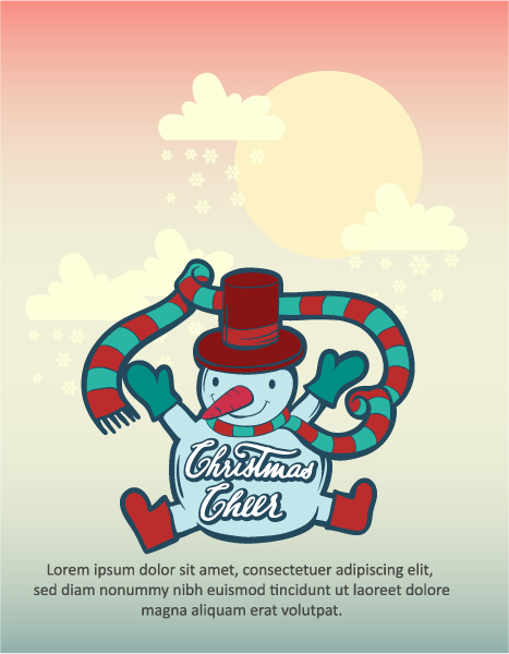 Christmas Vector illustration  with  snowman Vector Illustrations tree