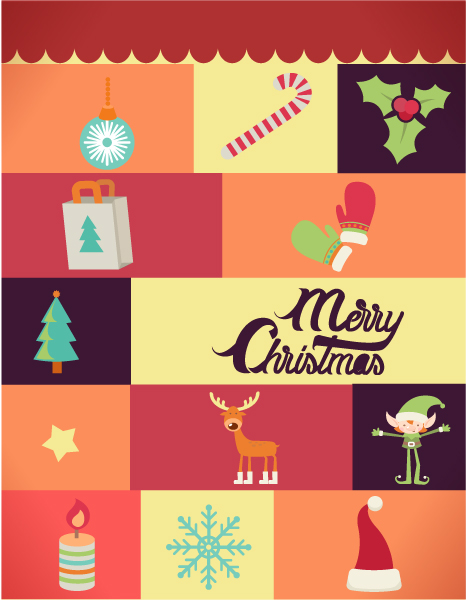 Christmas Vector illustration  with  christmas elements Vector Illustrations tree