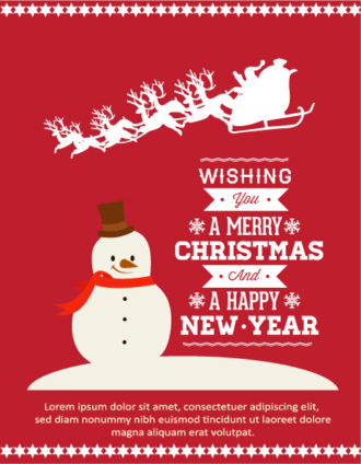 Christmas Vector illustration with snowman, sledge, santa Vector Illustrations vector